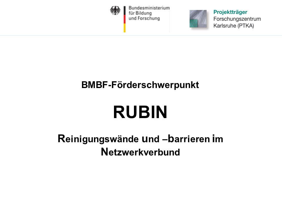 BMBF-Förderschwerpunkt RUBIN R einigungswände u nd – b arrieren i m N etzwerkverbund
