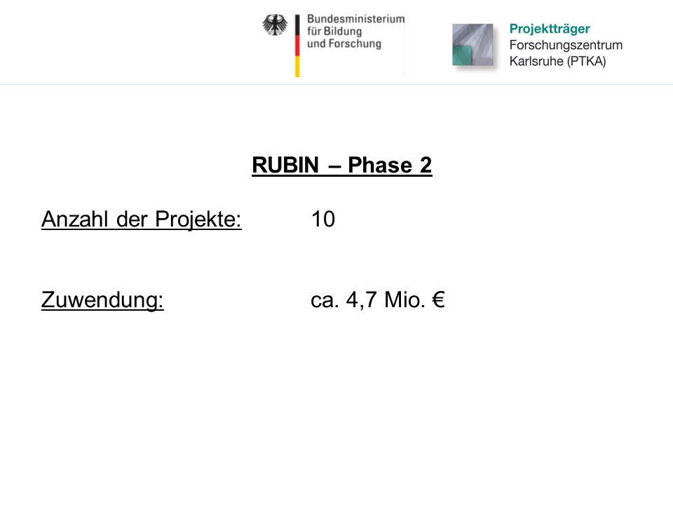 RUBIN – Phase 2 Anzahl der Projekte:10 Zuwendung:ca. 4,7 Mio.