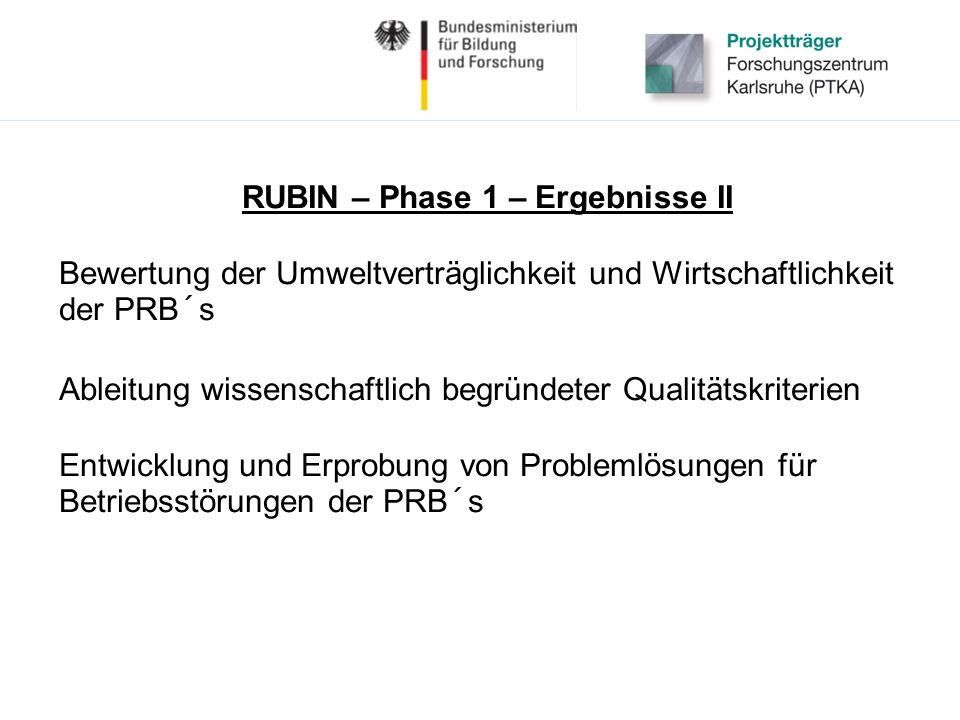 RUBIN – Phase 1 – Ergebnisse II Bewertung der Umweltverträglichkeit und Wirtschaftlichkeit der PRB´s Ableitung wissenschaftlich begründeter Qualitätskriterien Entwicklung und Erprobung von Problemlösungen für Betriebsstörungen der PRB´s