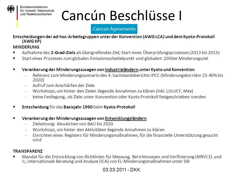 03.03.2011 - DKK Cancún Beschlüsse I Entscheidungen der ad-hoc-Arbeitsgruppen unter der Konvention (AWG LCA) und dem Kyoto-Protokoll (AWG KP) MINDERUN