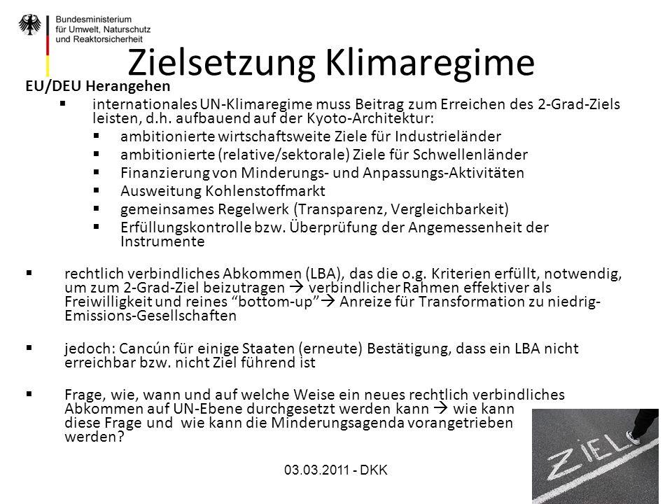 03.03.2011 - DKK Zielsetzung Klimaregime EU/DEU Herangehen internationales UN-Klimaregime muss Beitrag zum Erreichen des 2-Grad-Ziels leisten, d.h. au