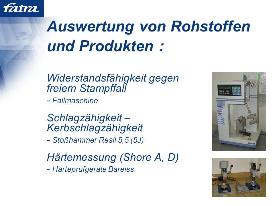 Auswertung von Rohstoffen und Produkten : Widerstandsfähigkeit gegen freiem Stampffall - Fallmaschine Schlagzähigkeit – Kerbschlagzähigkeit - Stoßhammer Resil 5,5 (5J) Härtemessung (Shore A, D) - Härteprüfgeräte Bareiss