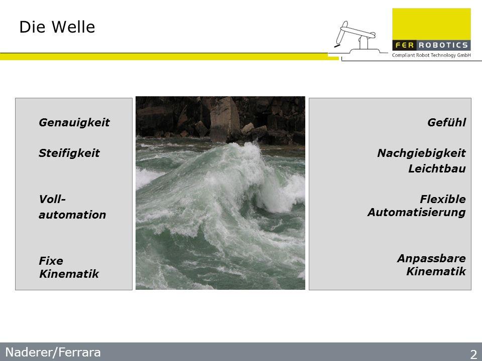 Naderer/Ferrara Die Welle Genauigkeit Steifigkeit Voll- automation Fixe Kinematik Gefühl Nachgiebigkeit Leichtbau Flexible Automatisierung Anpassbare Kinematik 2