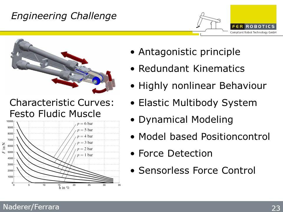 Naderer/Ferrara 23 Engineering Challenge Antagonistic principle Redundant Kinematics Highly nonlinear Behaviour Elastic Multibody System Dynamical Mod