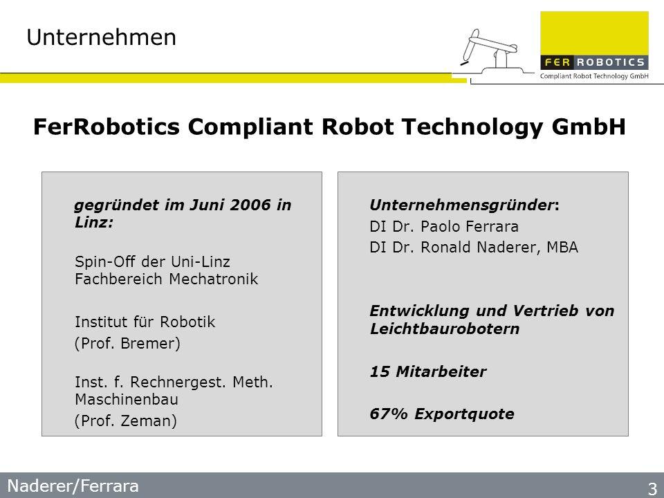 Naderer/Ferrara Unternehmen gegründet im Juni 2006 in Linz: Spin-Off der Uni-Linz Fachbereich Mechatronik Institut für Robotik (Prof.