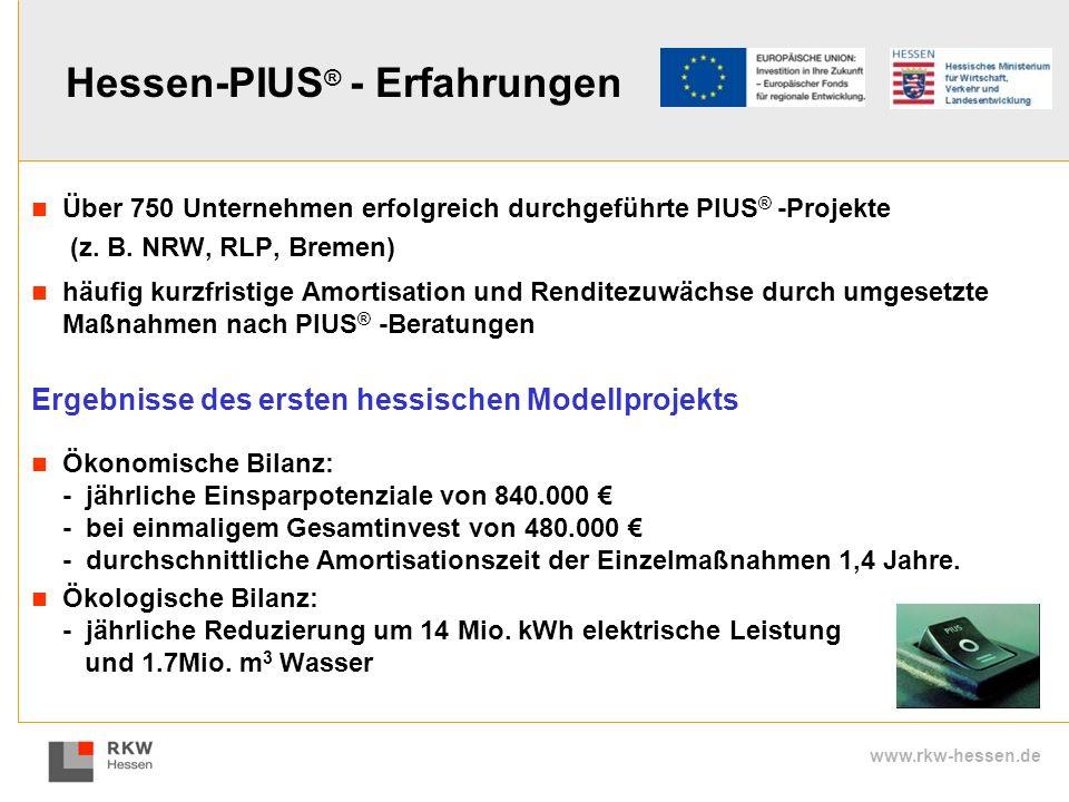 www.rkw-hessen.de Hessen-PIUS ® - Erfahrungen Über 750 Unternehmen erfolgreich durchgeführte PIUS ® -Projekte (z. B. NRW, RLP, Bremen) häufig kurzfris