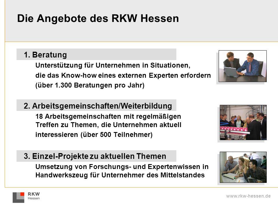 www.rkw-hessen.de 1. Beratung Unterstützung für Unternehmen in Situationen, die das Know-how eines externen Experten erfordern (über 1.300 Beratungen