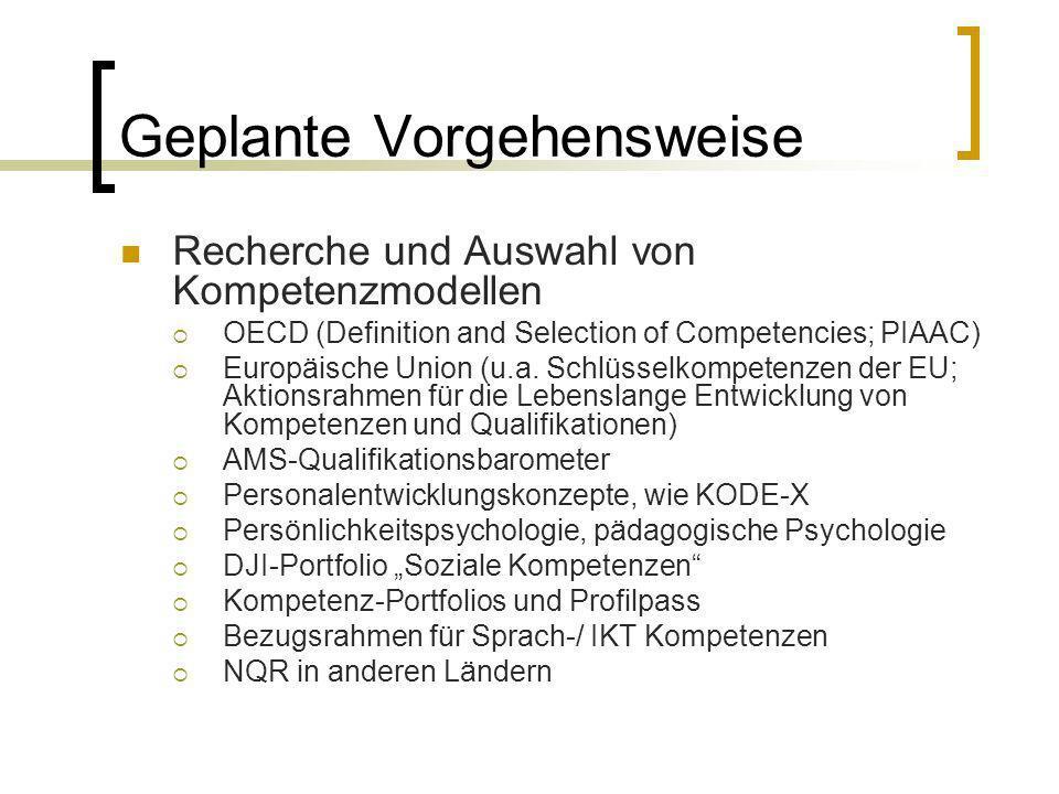 Geplante Vorgehensweise Recherche und Auswahl von Kompetenzmodellen OECD (Definition and Selection of Competencies; PIAAC) Europäische Union (u.a. Sch