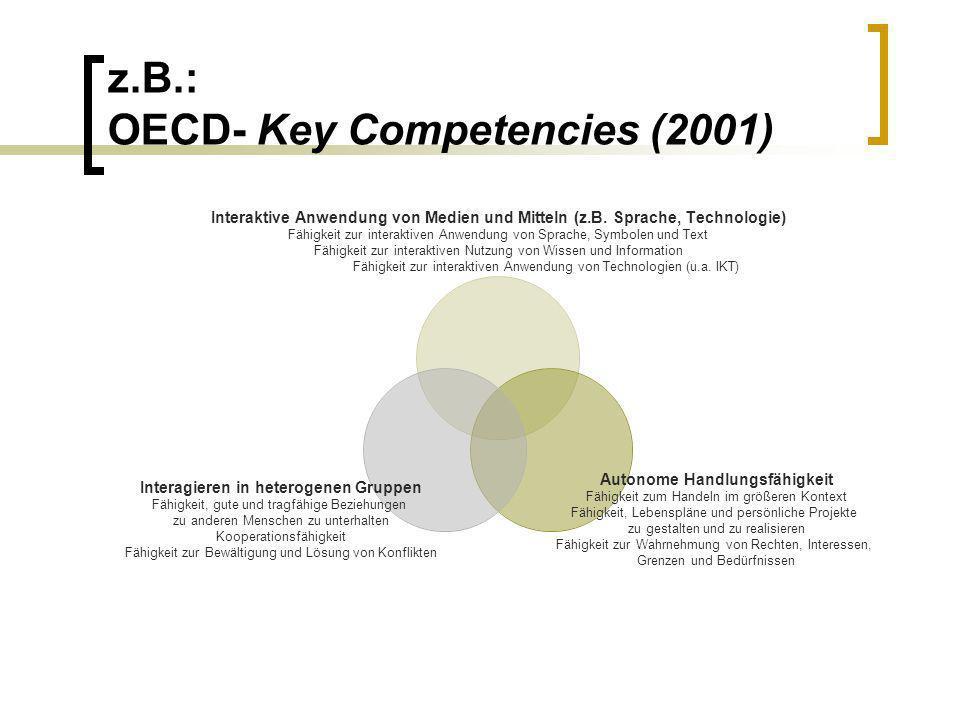 z.B.: OECD- Key Competencies (2001) Interaktive Anwendung von Medien und Mitteln (z.B. Sprache, Technologie) Fähigkeit zur interaktiven Anwendung von