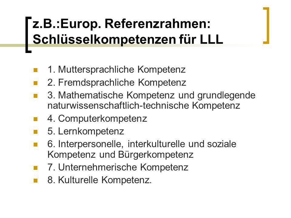 z.B.:Europ. Referenzrahmen: Schlüsselkompetenzen für LLL 1. Muttersprachliche Kompetenz 2. Fremdsprachliche Kompetenz 3. Mathematische Kompetenz und g