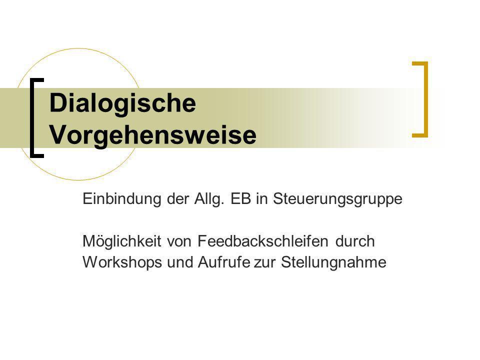 Dialogische Vorgehensweise Einbindung der Allg. EB in Steuerungsgruppe Möglichkeit von Feedbackschleifen durch Workshops und Aufrufe zur Stellungnahme