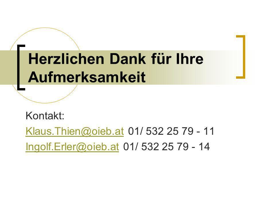 Herzlichen Dank für Ihre Aufmerksamkeit Kontakt: Klaus.Thien@oieb.atKlaus.Thien@oieb.at 01/ 532 25 79 - 11 Ingolf.Erler@oieb.atIngolf.Erler@oieb.at 01