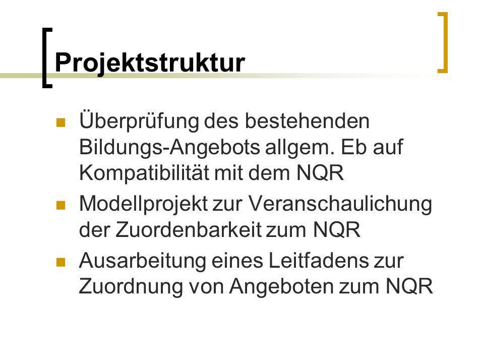 Projektstruktur Überprüfung des bestehenden Bildungs-Angebots allgem. Eb auf Kompatibilität mit dem NQR Modellprojekt zur Veranschaulichung der Zuorde
