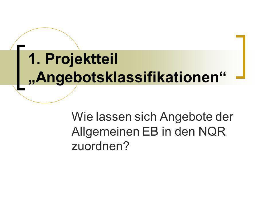 1. Projektteil Angebotsklassifikationen Wie lassen sich Angebote der Allgemeinen EB in den NQR zuordnen?