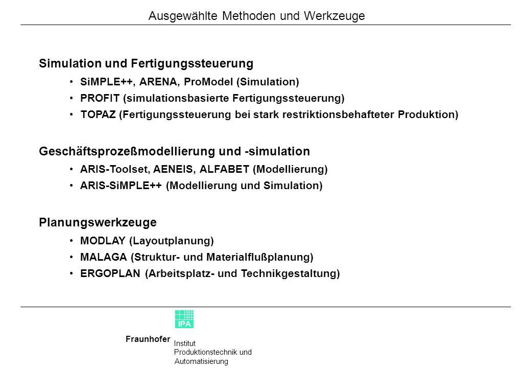 Institut Produktionstechnik und Automatisierung Fraunhofer IPA Mercedes BenzSimulation des verketteten Produktionsprozesses der A- Klasse in Rastatt mit dem Schwerpunkt Rohbau (SiMPLE++, ARENA) AudiSimulation eines verketteten Prozesses in der Automobil- produktions mit dem Schwerpunkt Rohbau (SiMPLE++) 3MMaterialflußplanung und Simulationsuntersuchung in einem Fertigungsbereich (SiMPLE++) ITT TEVESSimulation einer Ventil-Montage (SiMPLE++) KärcherSimulationsunterstützte Lageroptimierung zur Sicher- stellung der Erreichung der geforderten Leistungsdaten mit anschließender Umsetzung von Verbesserungsmaß- nahmen (SiMPLE++) SiemensKonzeption, Realisierung und Einführung eines Informa- tionssystems zur Prozeßanalyse und Qualitätssicherung in der Halbleiterfertigung BMWEntwicklung eines modularen Systembaukastens zur simulationsunterstützten Fertigungssteuerung (PROFiT) BMWSimulationsbasierte Reorganisation von Qualitäts- managementprozessen Abb.1: Rohbausimulation Abb.