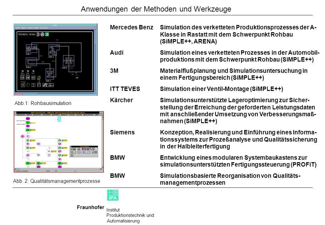 Institut Produktionstechnik und Automatisierung Fraunhofer IPA Mercedes BenzSimulation des verketteten Produktionsprozesses der A- Klasse in Rastatt m