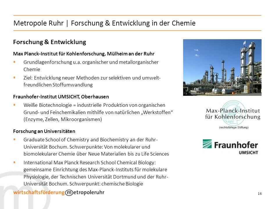 16 Metropole Ruhr | Forschung & Entwicklung in der Chemie Forschung & Entwicklung Max Planck-Institut für Kohlenforschung, Mülheim an der Ruhr Grundla