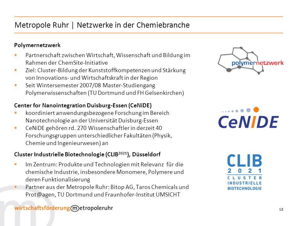 18 Metropole Ruhr | Netzwerke in der Chemiebranche Polymernetzwerk Partnerschaft zwischen Wirtschaft, Wissenschaft und Bildung im Rahmen der ChemSite-
