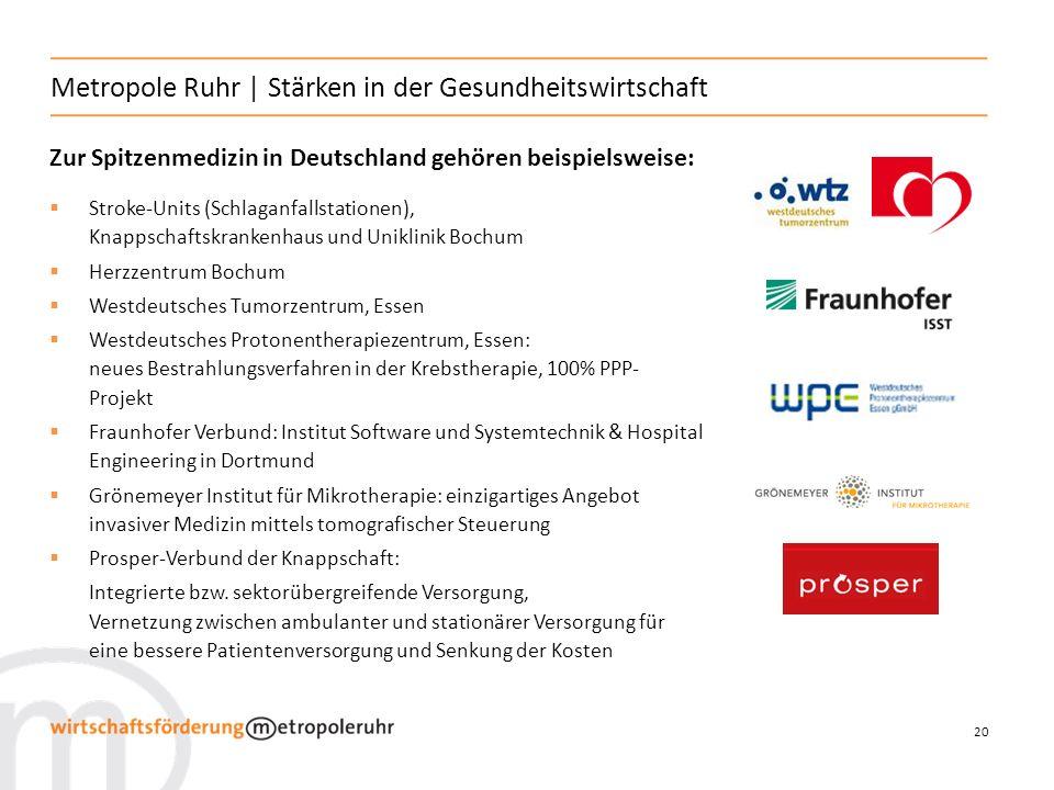 20 Metropole Ruhr | Stärken in der Gesundheitswirtschaft Zur Spitzenmedizin in Deutschland gehören beispielsweise: Stroke-Units (Schlaganfallstationen