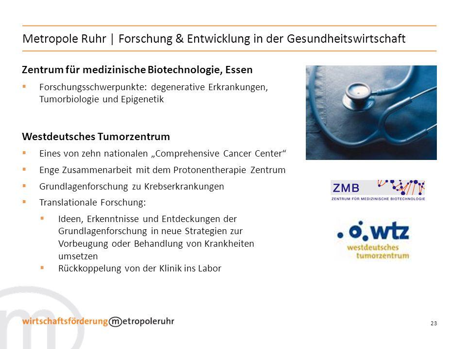 23 Metropole Ruhr | Forschung & Entwicklung in der Gesundheitswirtschaft Zentrum für medizinische Biotechnologie, Essen Forschungsschwerpunkte: degene