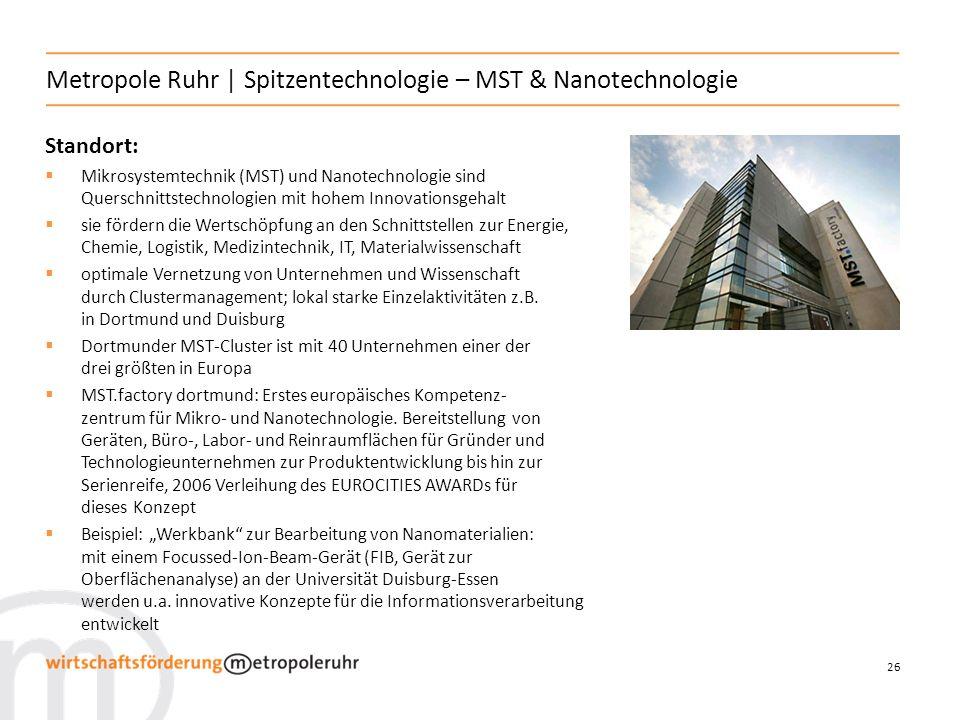 26 Metropole Ruhr | Spitzentechnologie – MST & Nanotechnologie Standort: Mikrosystemtechnik (MST) und Nanotechnologie sind Querschnittstechnologien mi