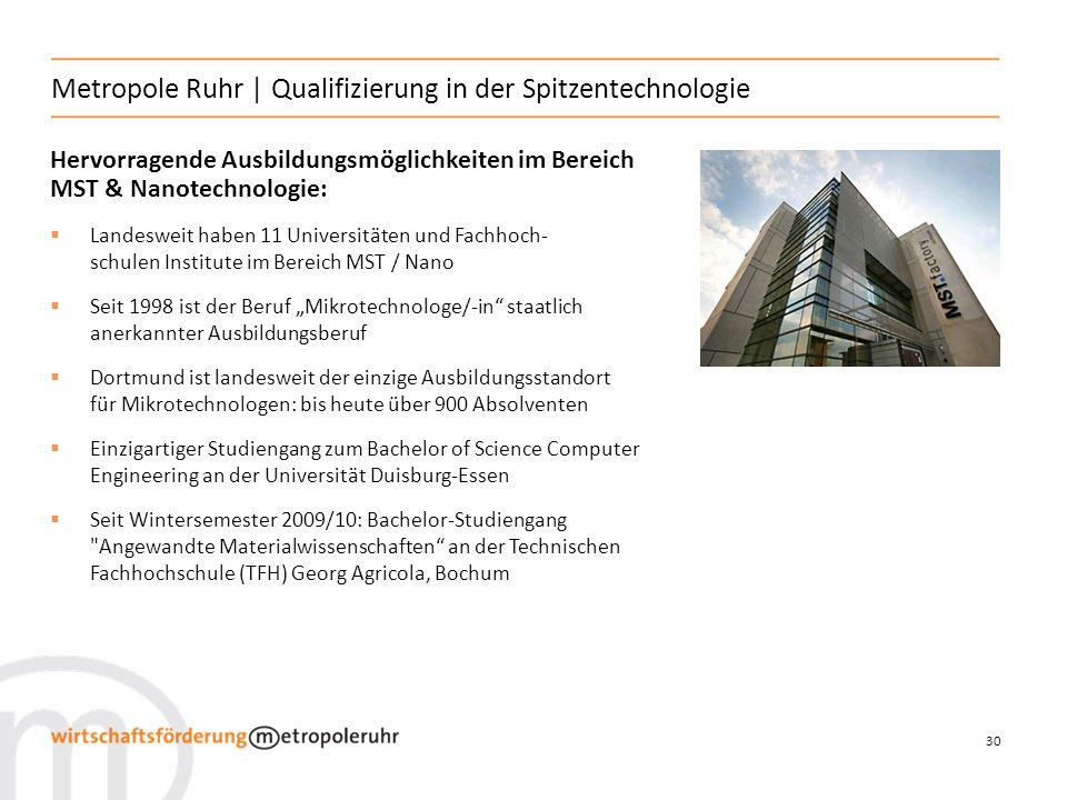 30 Metropole Ruhr | Qualifizierung in der Spitzentechnologie Hervorragende Ausbildungsmöglichkeiten im Bereich MST & Nanotechnologie: Landesweit haben