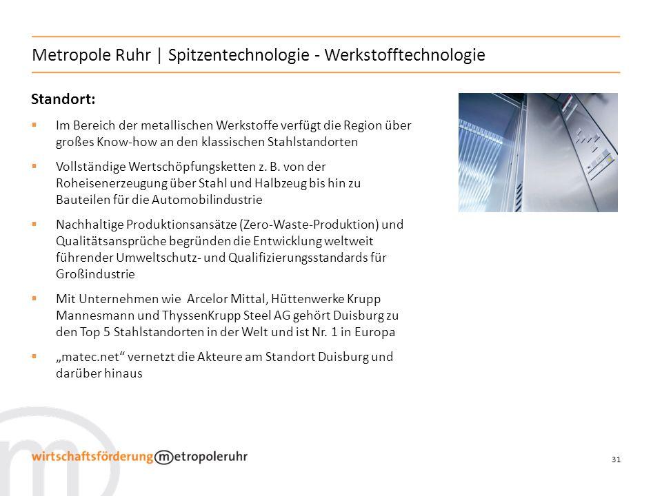 31 Metropole Ruhr | Spitzentechnologie - Werkstofftechnologie Standort: Im Bereich der metallischen Werkstoffe verfügt die Region über großes Know-how