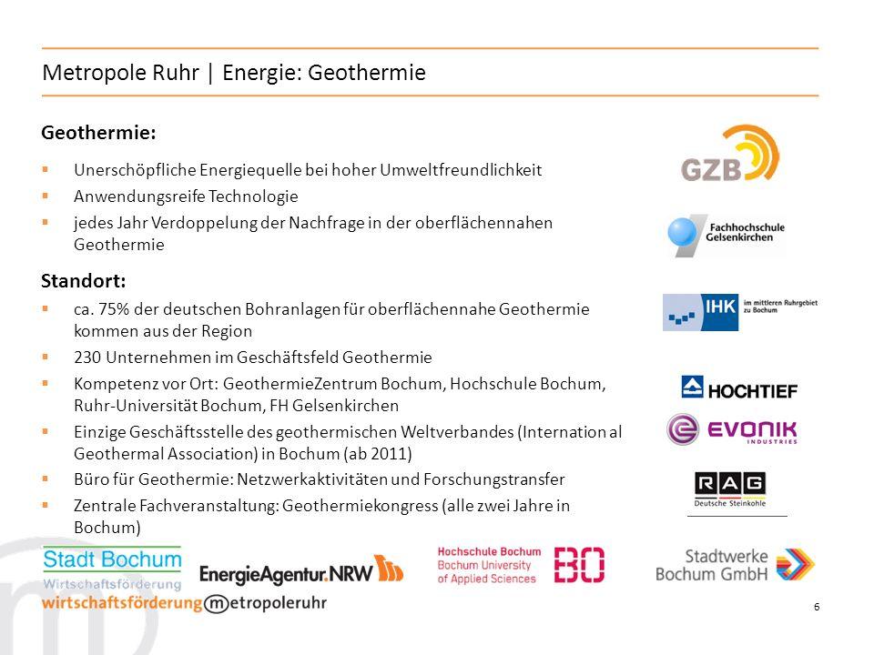 6 Metropole Ruhr | Energie: Geothermie Geothermie: Unerschöpfliche Energiequelle bei hoher Umweltfreundlichkeit Anwendungsreife Technologie jedes Jahr