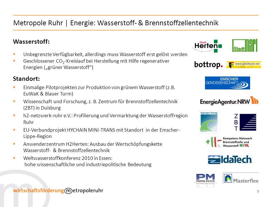 7 Metropole Ruhr | Energie: Wasserstoff- & Brennstoffzellentechnik Wasserstoff: Unbegrenzte Verfügbarkeit, allerdings muss Wasserstoff erst gelöst wer