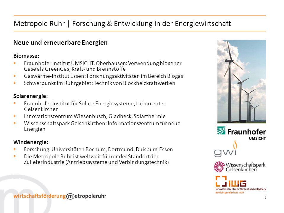 8 Metropole Ruhr | Forschung & Entwicklung in der Energiewirtschaft Neue und erneuerbare Energien Biomasse: Fraunhofer Institut UMSICHT, Oberhausen: V