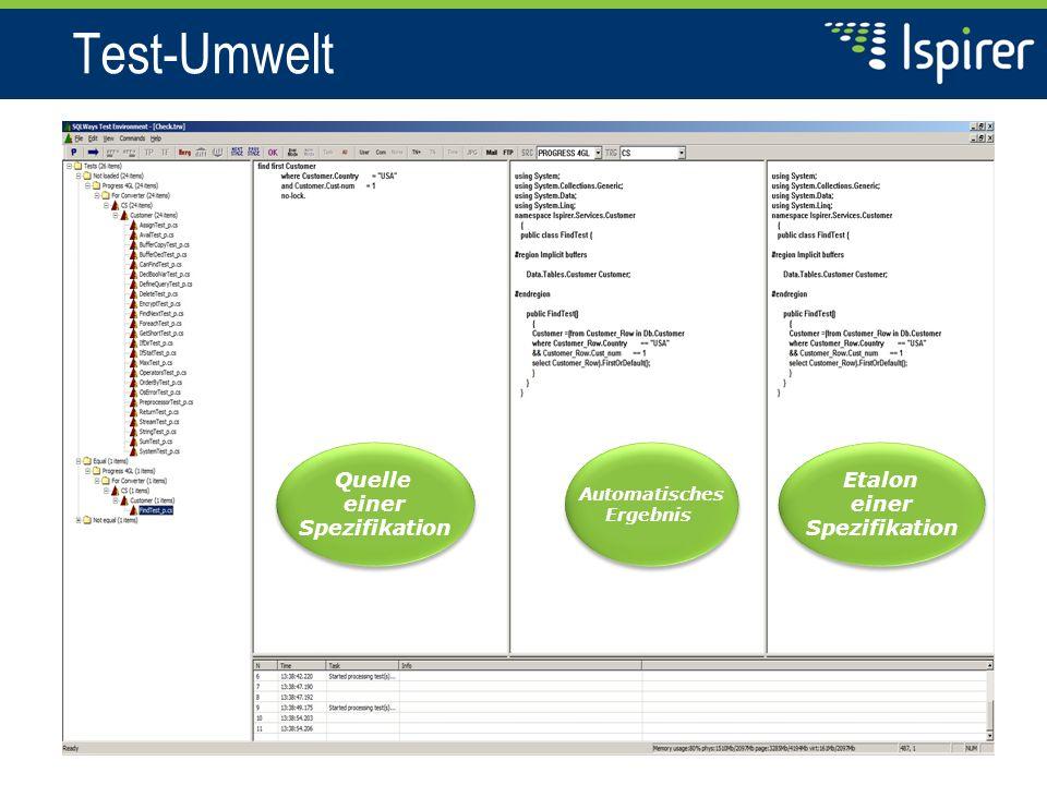 Test-Umwelt Quelle einer Spezifikation Quelle einer Spezifikation Automatisches Ergebnis Automatisches Ergebnis Etalon einer Spezifikation Etalon einer Spezifikation