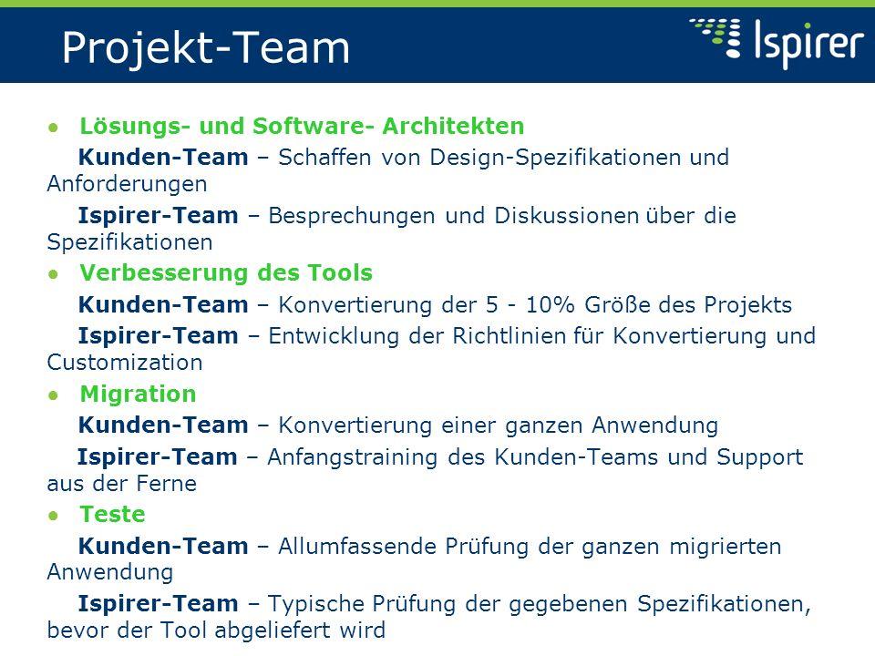 Projekt-Team Lösungs- und Software- Architekten Kunden-Team – Schaffen von Design-Spezifikationen und Anforderungen Ispirer-Team – Besprechungen und Diskussionen über die Spezifikationen Verbesserung des Tools Kunden-Team – Konvertierung der 5 - 10% Größe des Projekts Ispirer-Team – Entwicklung der Richtlinien für Konvertierung und Customization Migration Kunden-Team – Konvertierung einer ganzen Anwendung Ispirer-Team – Anfangstraining des Kunden-Teams und Support aus der Ferne Teste Kunden-Team – Allumfassende Prüfung der ganzen migrierten Anwendung Ispirer-Team – Typische Prüfung der gegebenen Spezifikationen, bevor der Tool abgeliefert wird