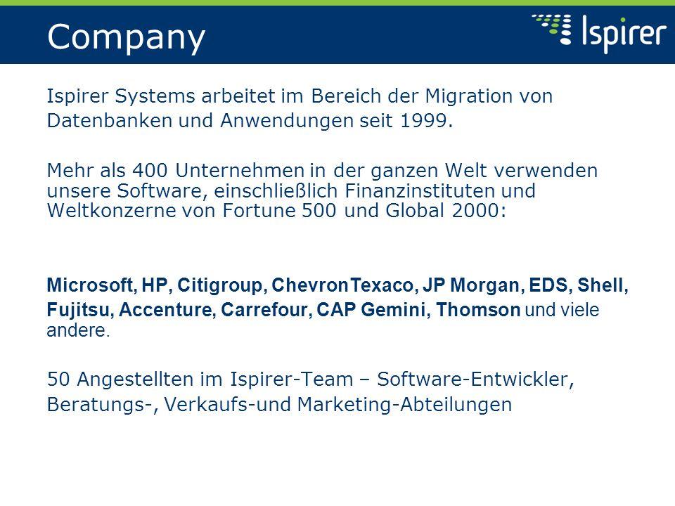 Company Ispirer Systems arbeitet im Bereich der Migration von Datenbanken und Anwendungen seit 1999. Mehr als 400 Unternehmen in der ganzen Welt verwe