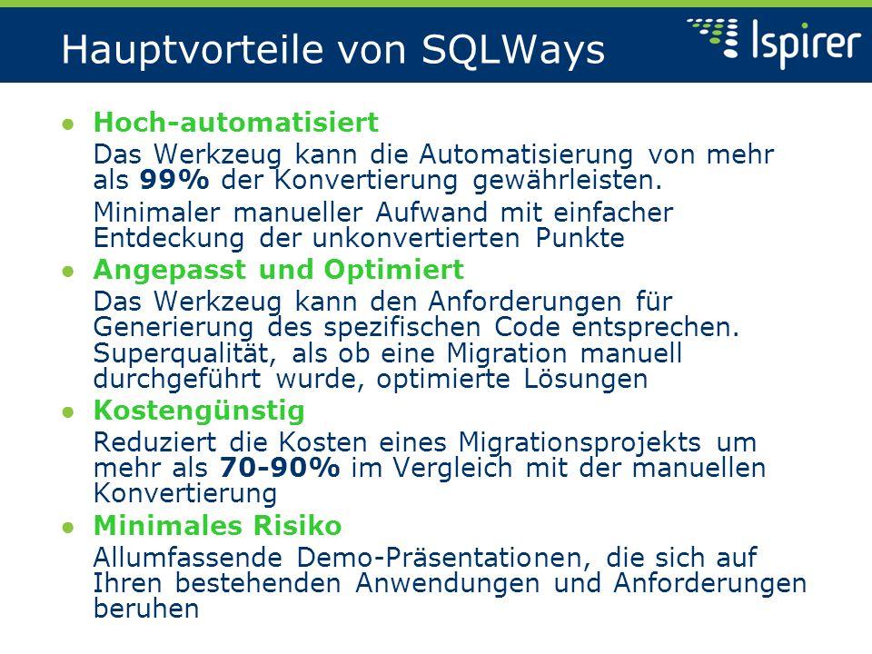 Hauptvorteile von SQLWays Hoch-automatisiert Das Werkzeug kann die Automatisierung von mehr als 99% der Konvertierung gewährleisten. Minimaler manuell