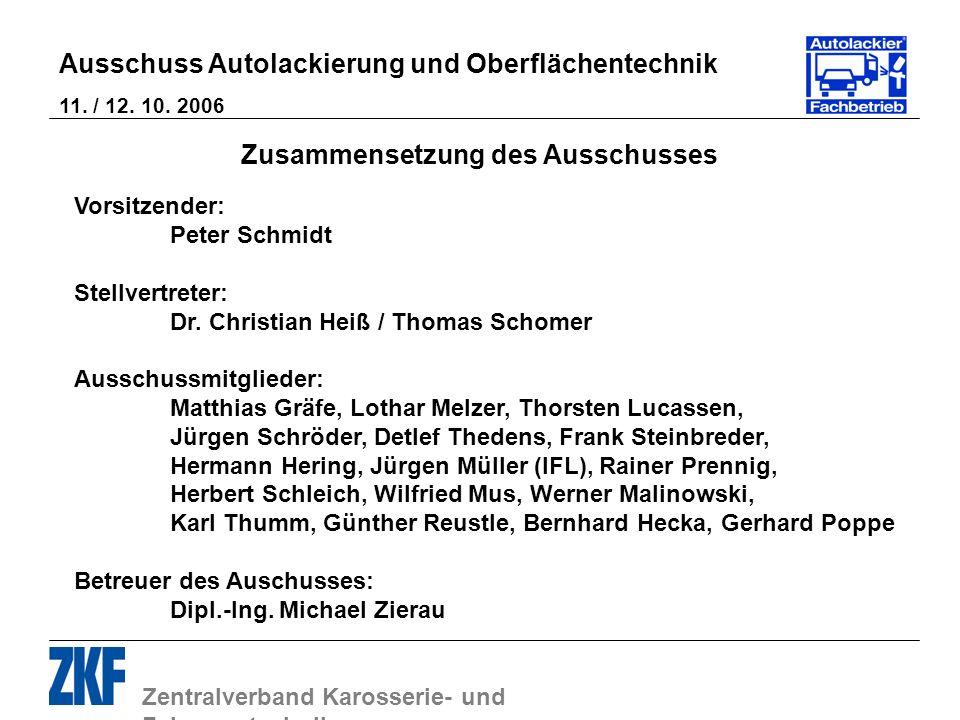 Zentralverband Karosserie- und Fahrzeugtechnik Ausschuss Autolackierung und Oberflächentechnik 11. / 12. 10. 2006 Zusammensetzung des Ausschusses Vors