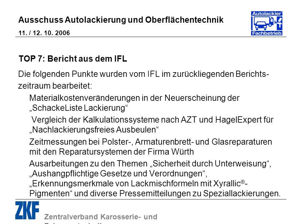 Zentralverband Karosserie- und Fahrzeugtechnik Ausschuss Autolackierung und Oberflächentechnik 11. / 12. 10. 2006 TOP 7: Bericht aus dem IFL Die folge