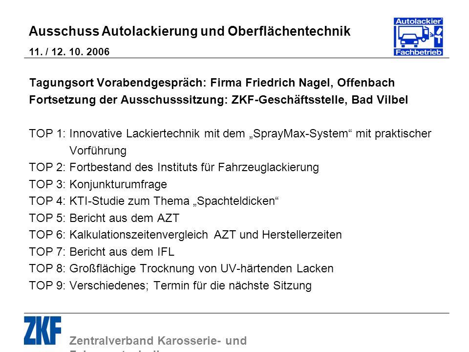 Zentralverband Karosserie- und Fahrzeugtechnik Ausschuss Autolackierung und Oberflächentechnik 11. / 12. 10. 2006 Tagungsort Vorabendgespräch: Firma F