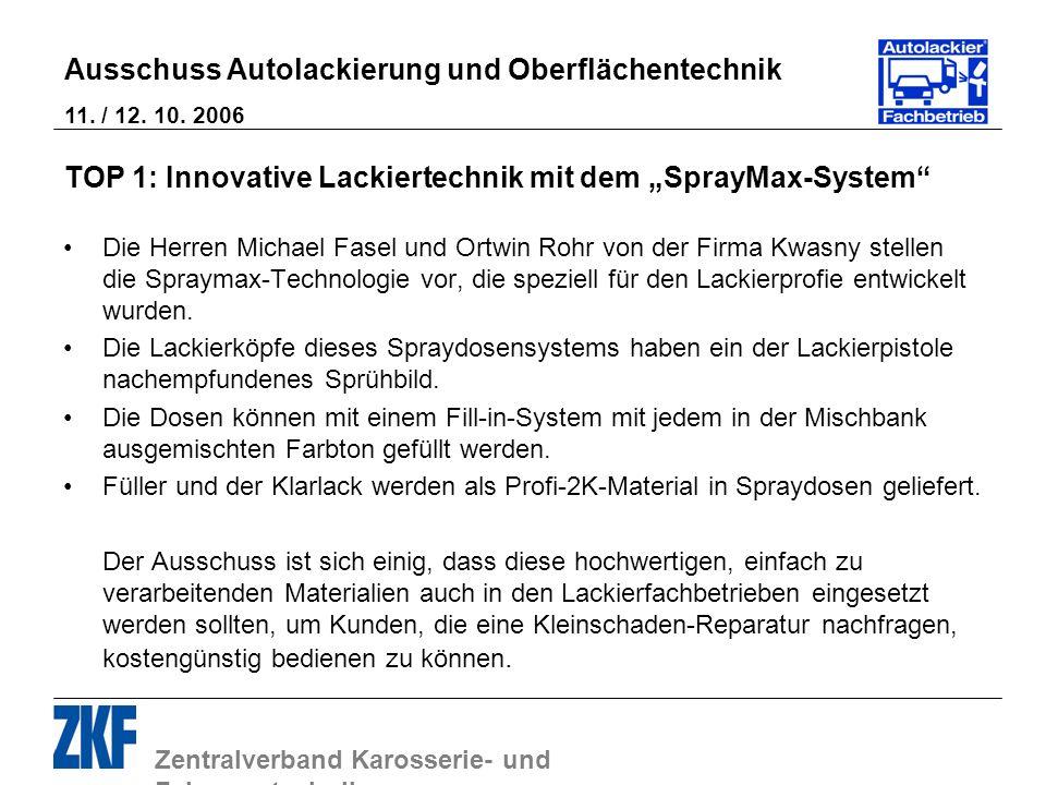 Zentralverband Karosserie- und Fahrzeugtechnik Ausschuss Autolackierung und Oberflächentechnik 11. / 12. 10. 2006 TOP 1: Innovative Lackiertechnik mit