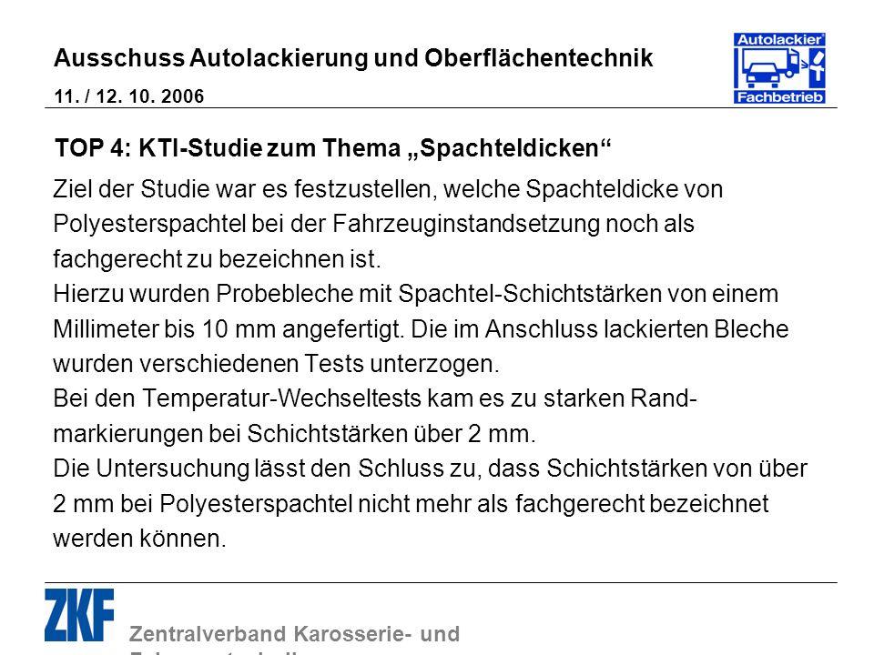 Zentralverband Karosserie- und Fahrzeugtechnik Ausschuss Autolackierung und Oberflächentechnik 11. / 12. 10. 2006 TOP 4: KTI-Studie zum Thema Spachtel