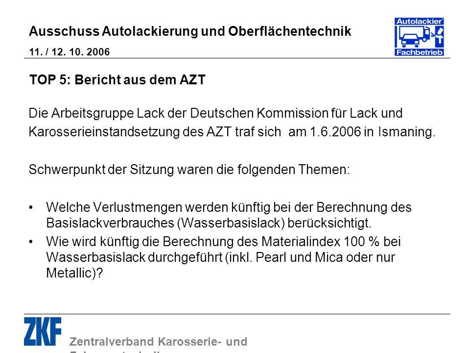 Zentralverband Karosserie- und Fahrzeugtechnik Ausschuss Autolackierung und Oberflächentechnik 11. / 12. 10. 2006 TOP 5: Bericht aus dem AZT Die Arbei