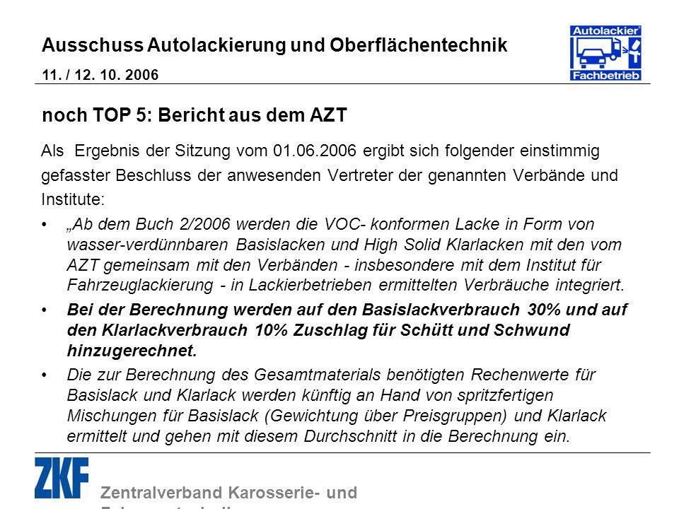 Zentralverband Karosserie- und Fahrzeugtechnik Ausschuss Autolackierung und Oberflächentechnik 11. / 12. 10. 2006 noch TOP 5: Bericht aus dem AZT Als