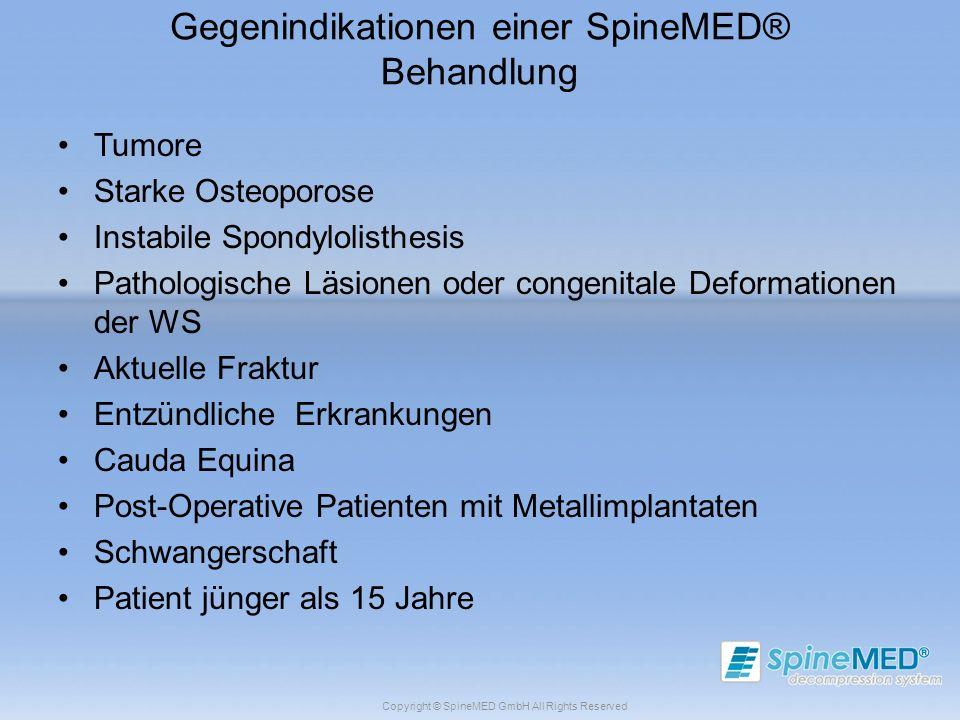 Copyright © SpineMED GmbH All Rights Reserved Gegenindikationen einer SpineMED® Behandlung Tumore Starke Osteoporose Instabile Spondylolisthesis Patho