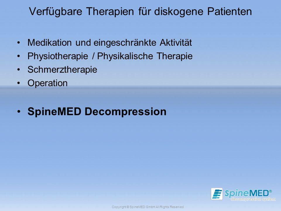 Copyright © SpineMED GmbH All Rights Reserved Verfügbare Therapien für diskogene Patienten Medikation und eingeschränkte Aktivität Physiotherapie / Ph