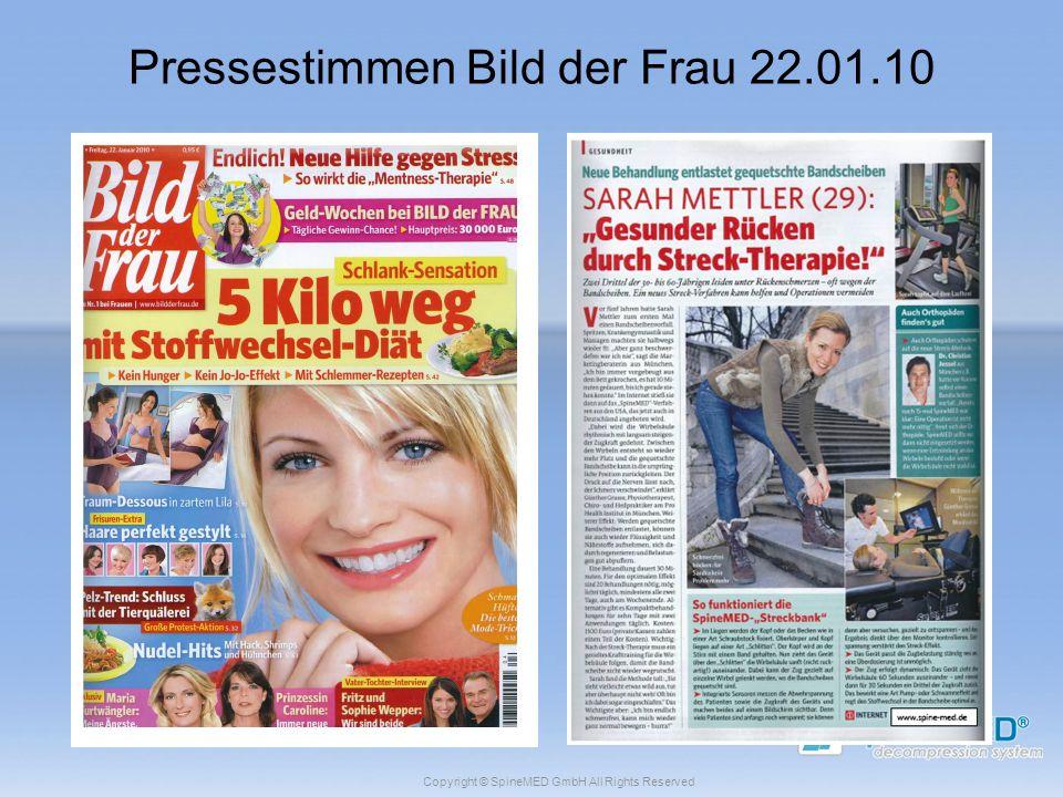 Copyright © SpineMED GmbH All Rights Reserved Pressestimmen Bild der Frau 22.01.10