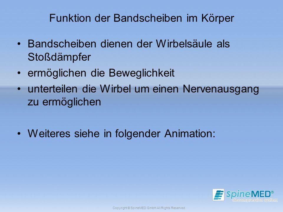 Copyright © SpineMED GmbH All Rights Reserved Funktion der Bandscheiben im Körper Bandscheiben dienen der Wirbelsäule als Stoßdämpfer ermöglichen die