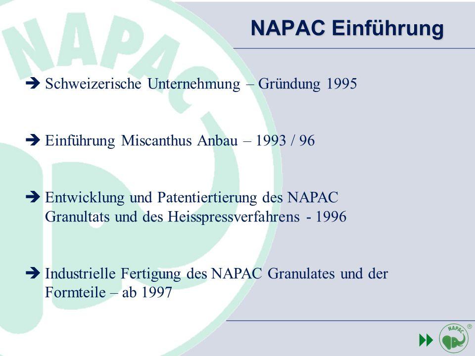 Schweizerische Unternehmung – Gründung 1995 Einführung Miscanthus Anbau – 1993 / 96 Entwicklung und Patentiertierung des NAPAC Granultats und des Heis