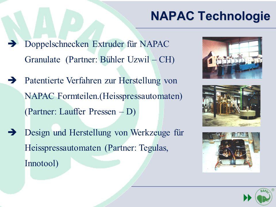 NAPAC Technologie Doppelschnecken Extruder für NAPAC Granulate (Partner: Bühler Uzwil – CH) Patentierte Verfahren zur Herstellung von NAPAC Formteilen