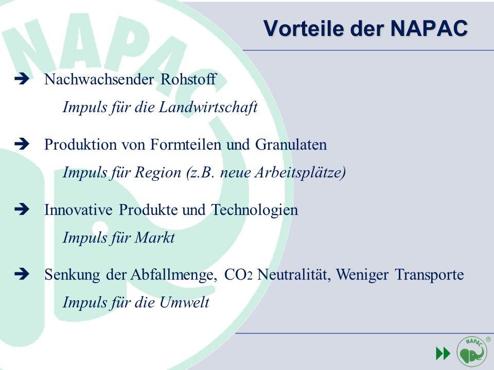Vorteile der NAPAC The Nachwachsender Rohstoff Impuls für die Landwirtschaft Produktion von Formteilen und Granulaten Impuls für Region (z.B. neue Arb
