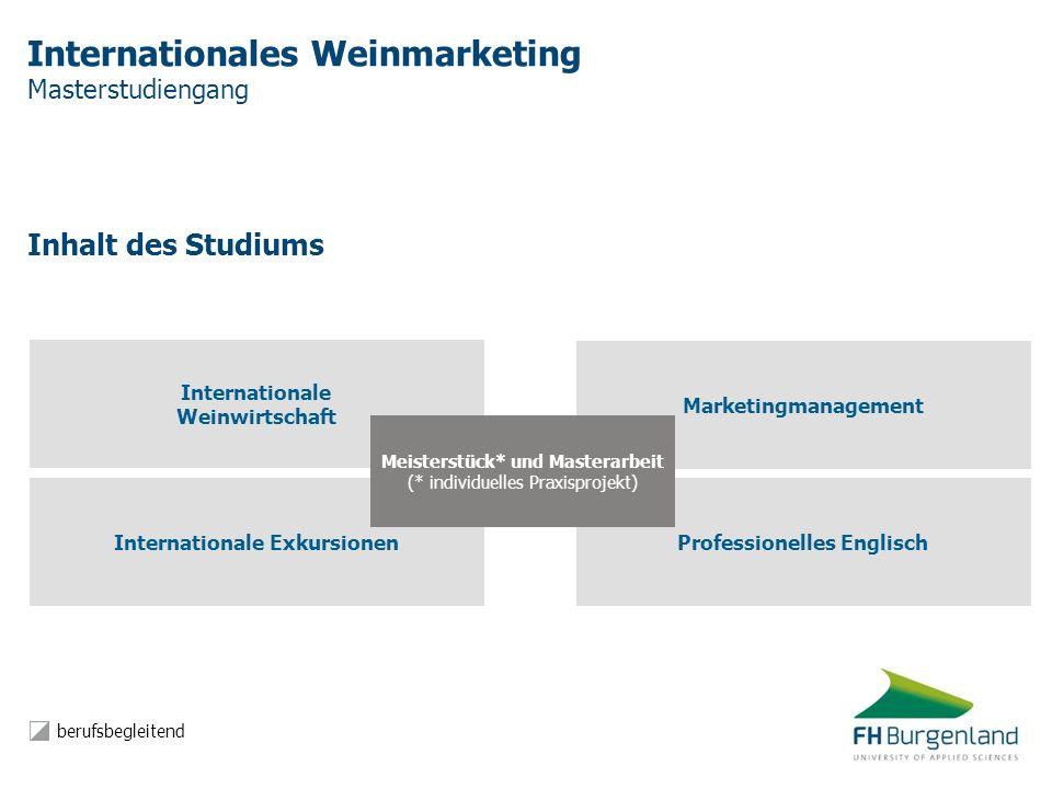 Internationales Weinmarketing Masterstudiengang Inhalt des Studiums Internationale Exkursionen Professionelles Englisch Marketingmanagement Internatio