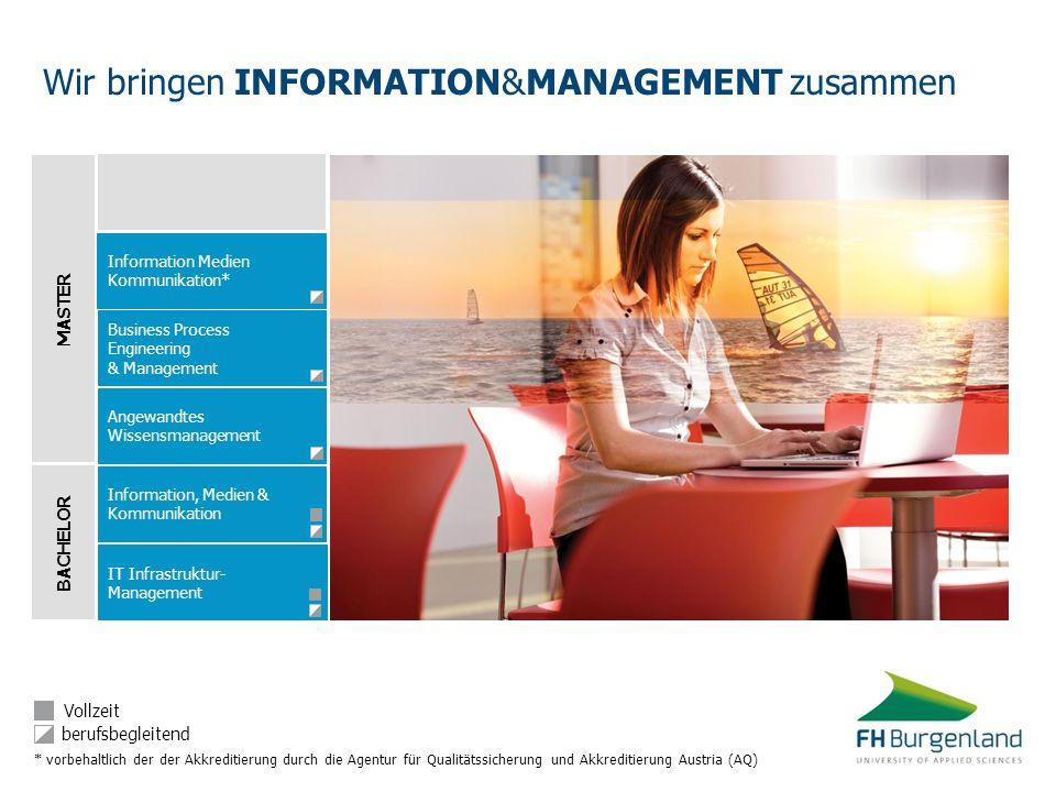 BACHELOR MASTER Information, Medien & Kommunikation IT Infrastruktur- Management Angewandtes Wissensmanagement Business Process Engineering & Manageme